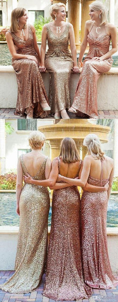 New Long Mermaid Sequin V-neck Sparkly Shining Pretty Bridesmaid Dresses, PD0357