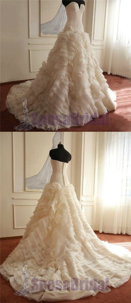 Sweetheart Gorgeous Elegant Formal Ivory Beautiful Handmade Wedding Dresses, Wedding Gowns, PD0562