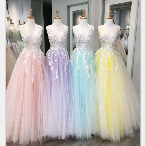 products/A-line_Tulle_with_Lace_Long_V-Neck_Colorful_Modest_Prom_Dresses.png