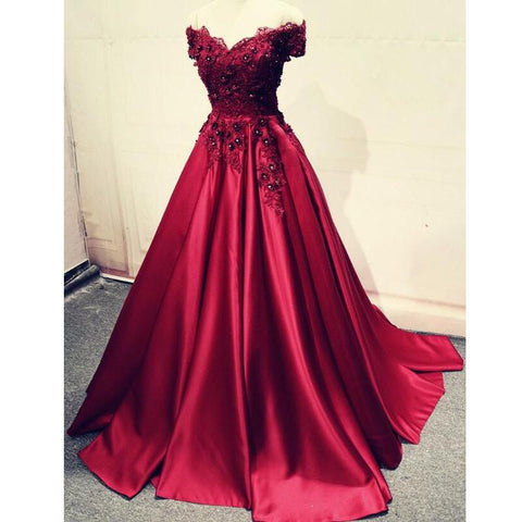 products/Charming_A-Line_Off-the-Shoulder_Pleated_Burgundy_Satin_Prom_Dress_with_Appliques_3.jpg