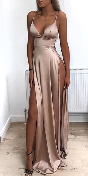 2019 Cheap Spaghetti Straps Side Split Simple Modest Sexy Prom Dresses, Evening dresses,PD1032