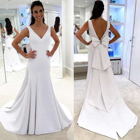 products/Long_Satin_Simple_V-Neck_Elegant_Glamorous_Modest_Wedding_Dresses_with_bow.jpg