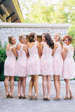 Pink Full Lace Short Sleeveless Bridesmaid Dresses, Cheap Popular Wedding Guest Dresses , WG293