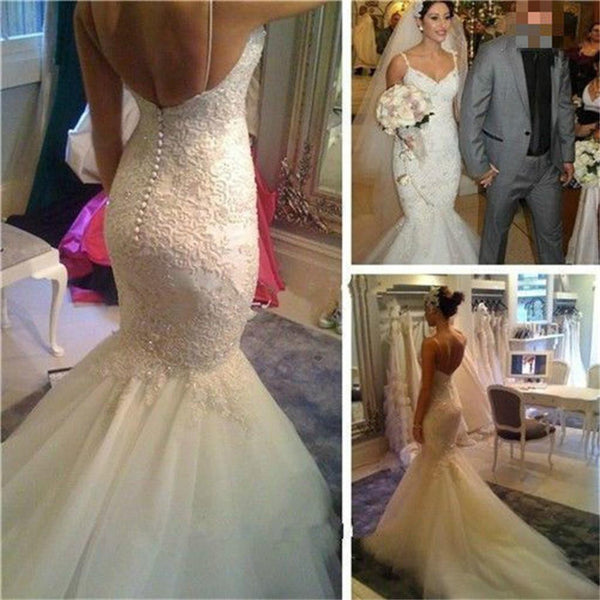 Sexy V Neck Mermaid  Cheap Spaghetti Straps Lace with Tulle train Backless Wedding Dress , PD0230