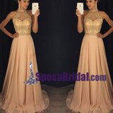 Beading Chiffon Halt Sparkly Long Prom Dress, Newest Unique Design Formal Evening Party Dress, PD0749 - SposaBridal