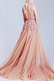 Dusty Pink Tulle Off Shoulder Lace Long Best Sale Elegant Party Prom Dress,PD0066
