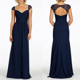 Cap Sleeve Open Back Lace Sweet Heart Chiffon Navy Blue Formal Cheap Bridesmaid Dresses, WG43 - Wish Gown