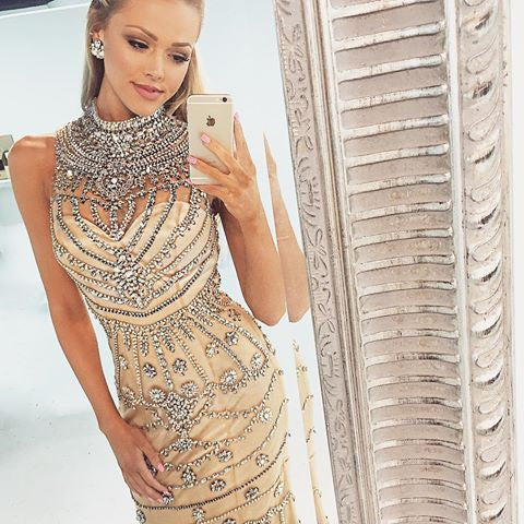 Goegeous Beaded High Neck Unique Mermaid Sexy Shinning Luxury Long Prom Dresses, WG279 - Wish Gown