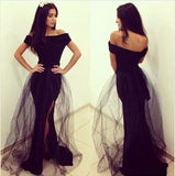 Sexy Side Slit Black Lace Mermaid Cap Sleeve Long Prom Dress, WG524