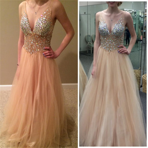 V-Neck Sexy Tulle Sparkle Evening Party Gorgeous Long Prom Dress Online, PD0127