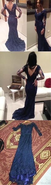 Navy Long Lace V-neck Elegant Mermaid Inexpensive Long Sleeves Prom Dresses, PD0017