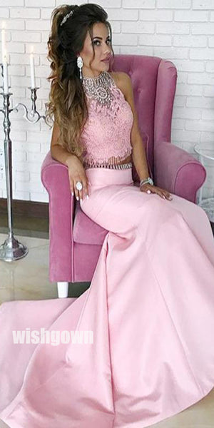 Charming Two Pieces Pink Mermaid Affordable Popular Long Evening Prom Dresses, WG1108