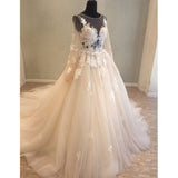 Long Sleeves Applique Tulle Lace Up Back Long Cheap Wedding Dress, WG687