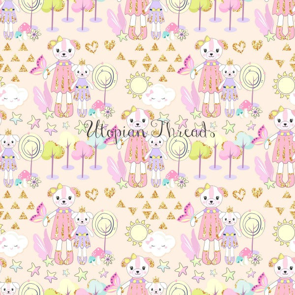 CUSTOM DIGITAL WOVEN (Cotton Sateen 130gsm) Dreamy Babes - Princess Teddy Natural - NEW ARRIVAL