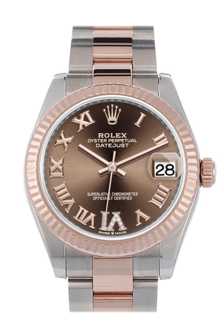 Rolex Datejust 31 Chocolate Large VI set with diamonds Dial Fluted Bezel 18K Everose Gold Two Tone Watch 278271