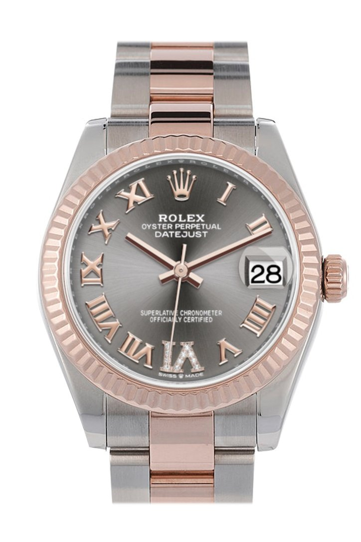Rolex Datejust 31 Rhodium Large VI set with diamonds Dial Fluted Bezel 18K Everose Gold Two Tone Watch 278271