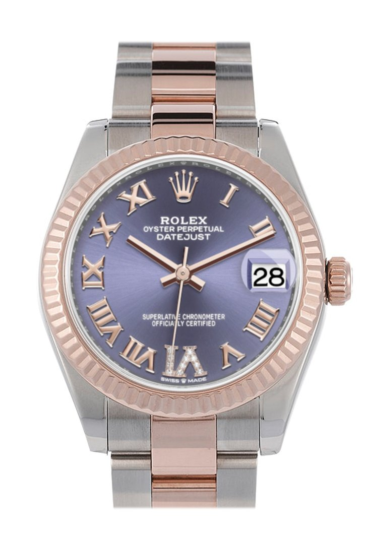Rolex Datejust 31 Aubergine Large VI set with diamonds Dial Fluted Bezel 18K Everose Gold Two Tone Watch 278271