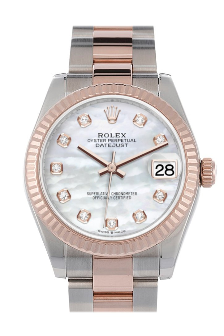 Rolex Datejust 31 Pearl Diamond Dial Fluted Bezel 18K Everose Gold Two Tone Watch 278271