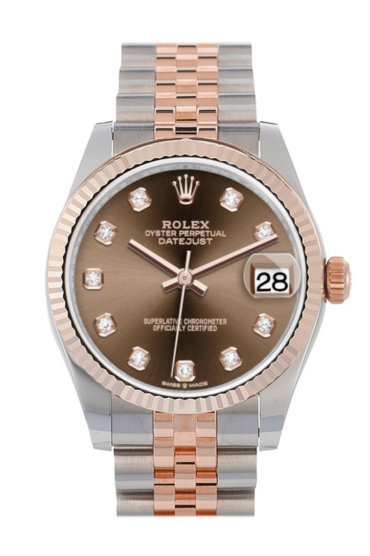 Rolex Datejust 31 Chocolate Diamond Dial Fluted Bezel 18K Everose Gold Two Tone Jubilee Watch 278271