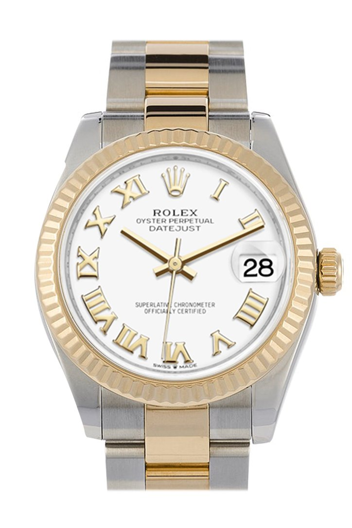 Rolex Datejust 31 White Roman Dial Fluted Bezel 18K Yellow Gold Two Tone Watch 278271