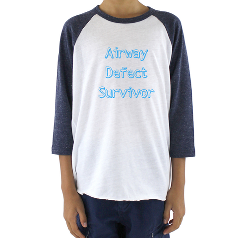 Airway Defect Survivor Tracheomalacia Laryngomalacia Kids Raglan Baseball Shirt - Sunshine and Spoons Shop