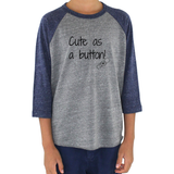 Cute as a Button G Tube Feeding Tube Kids Raglan Baseball Shirt - Sunshine and Spoons Shop