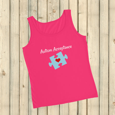 Autism Acceptance Awareness Puzzle Piece Women's Tank Top - Choose Color - Sunshine and Spoons Shop