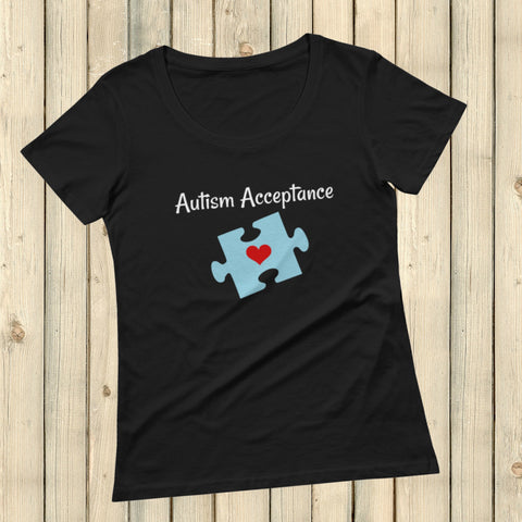 Autism Acceptance Awareness Puzzle Piece Scoop Neck Women's Shirt - Choose Color - Sunshine and Spoons Shop