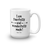 Fearfully and Wonderfully Made Coffee Tea Mug - Choose Size - Sunshine and Spoons Shop