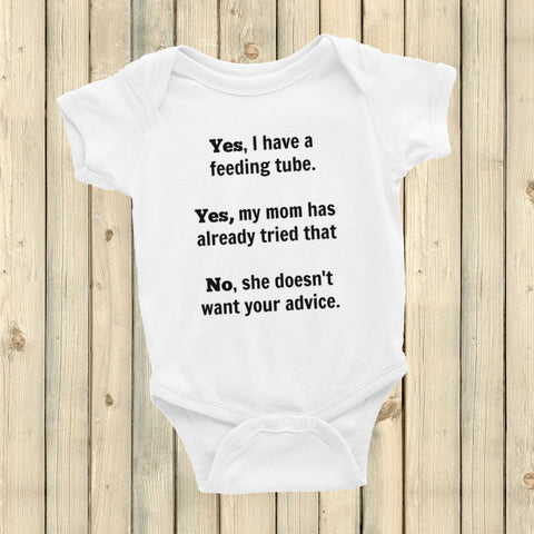 Yes, I Have a Feeding Tube. No, My Mom Doesn't Want Your Advice G Tube Onesie Bodysuit - Choose Color - Sunshine and Spoons Shop