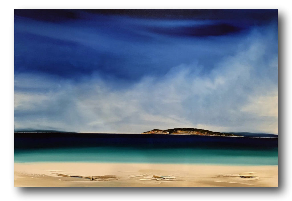 Stuart Clues Painting ~  'Days at Diamond Island' (Bicheno) - Gallery Salamanca Hobart Tasmania