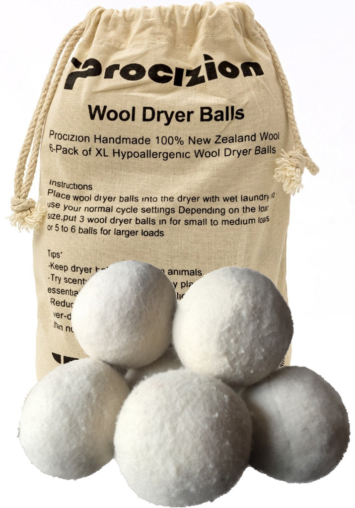 Wool Dryer Balls 6 Pack XL 100% Premium Organic Wool Reusable Fabric Softener