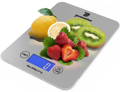 Digital Kitchen Food Scale Bundle with Measuring Spoons, Cleaning Cloth and Batteries Measures up to 11 Lbs (Silver - Frustration Free Package)