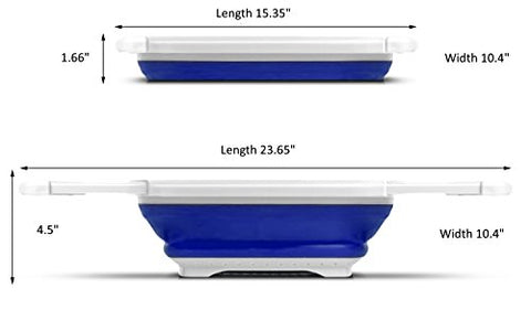 Procizion Kitchen Collapsible Colander Over The Sink Strainer Expanding Mesh with Extending Non Slip Handles (Blue)
