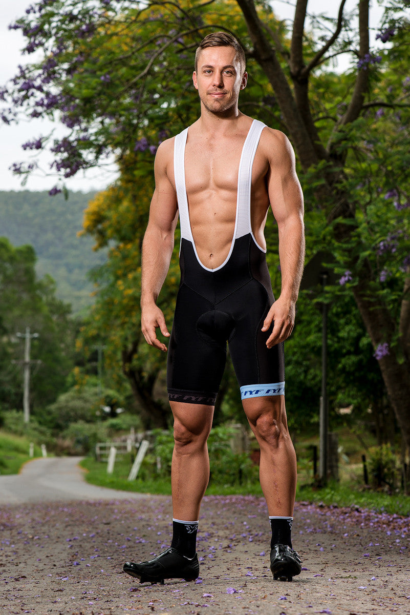black cycling bib shorts with blue hem designed in australia made in italy