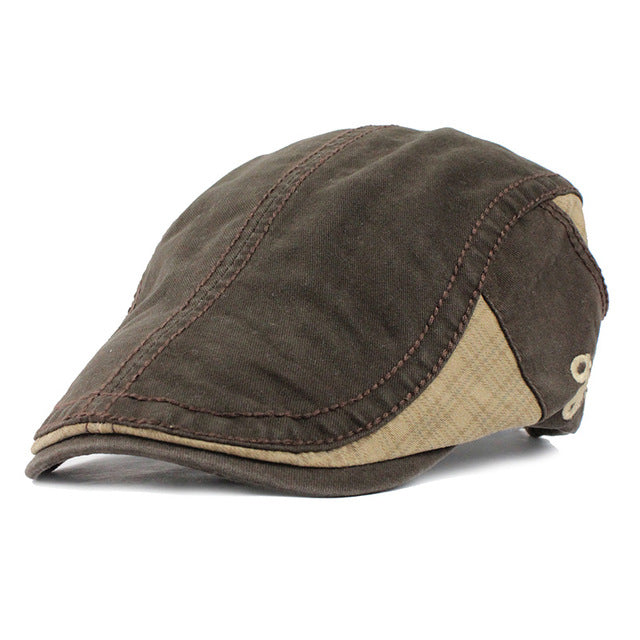 Flat Cabbie Newsboy Caps Striped Peaked Hat