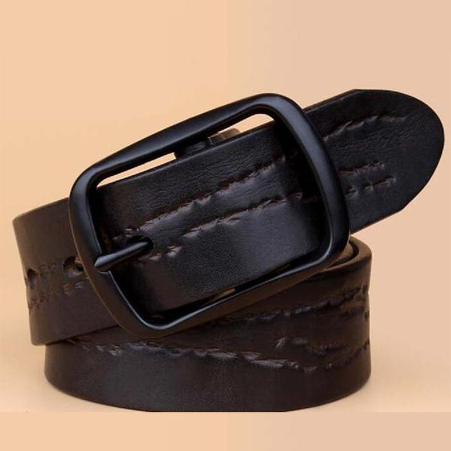 Cowskin Pin Buckle Leather Designer Mens Belt - Bruce Lee
