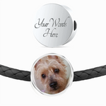 Personalized Round Charm Leather Bracelet - Bowie Shoppe