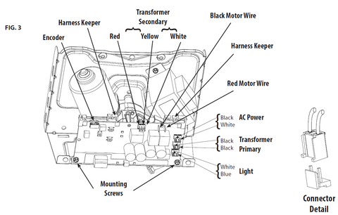 Instructions for replacing the motor 38644R.S in a Genie garage door opener