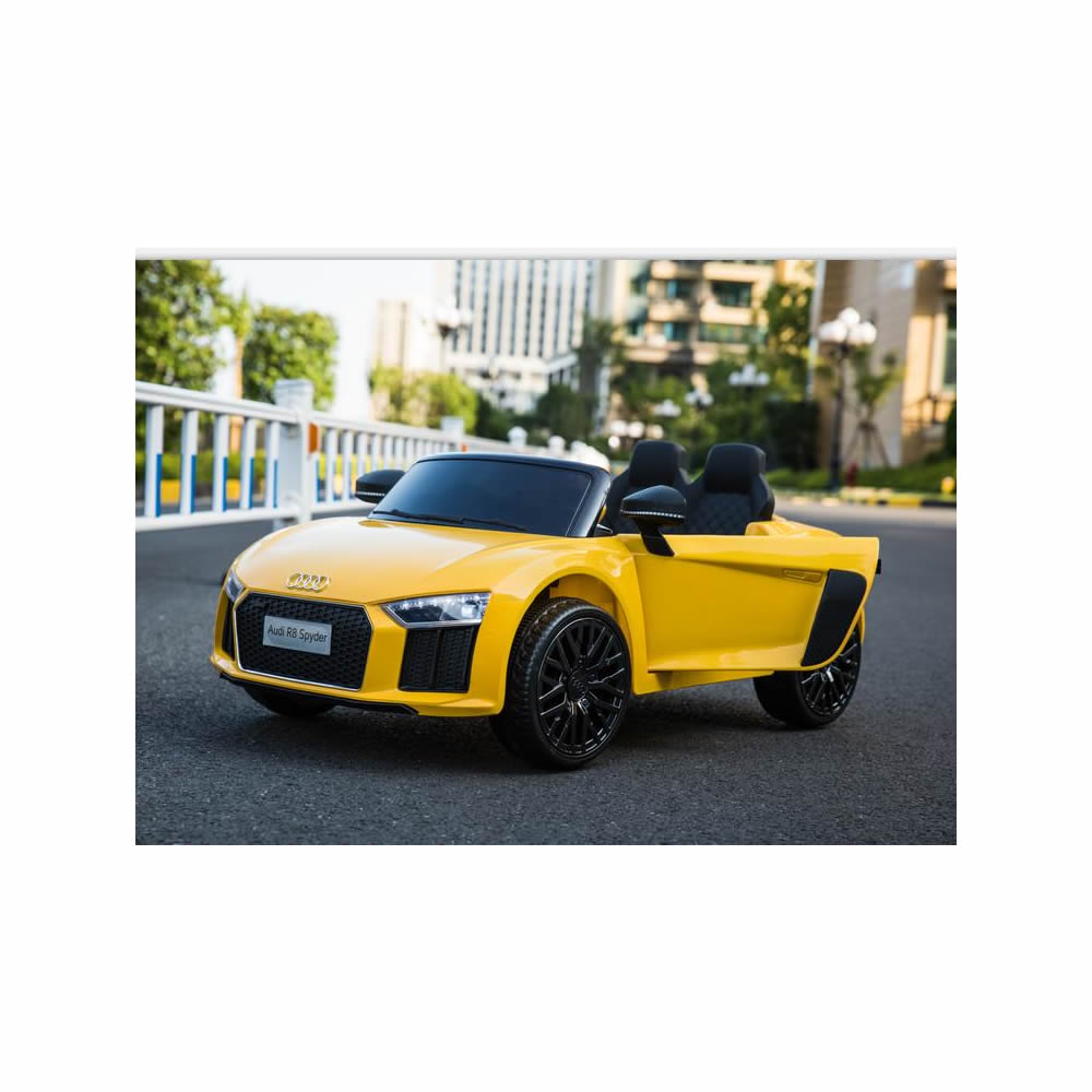 Audi R8 Spyder Compact 12v Licensed Ride on Kids Car with Remote Control - Yellow