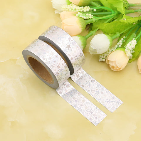 Silver Star Holographic Foil Washi Tape