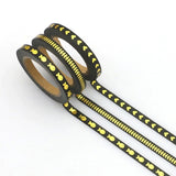 Black with Gold Foil Skinny Washi Tape Set of Three