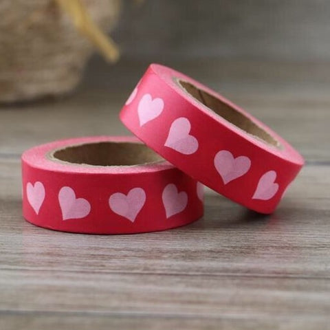 Red with Pink Hearts Washi Tape