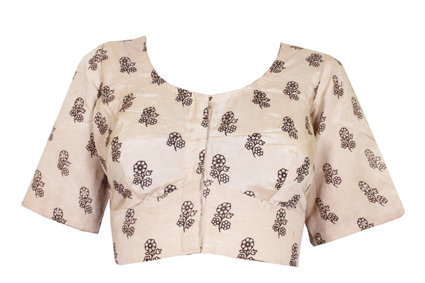Kalamkari Crepe Silk Ready-made Blouse with mirror work - Beige (75002A) Size-36