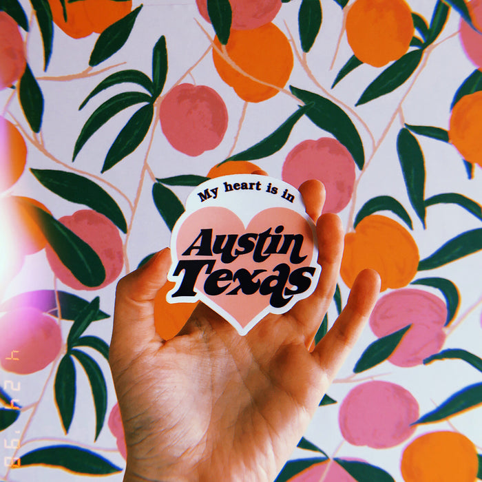 MY HEART IS IN AUSTIN STICKER Pink