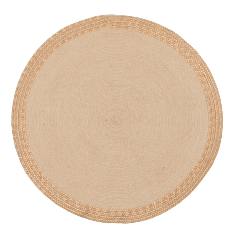 Milano Hand Braided Jute & Copper Leather Round Rug