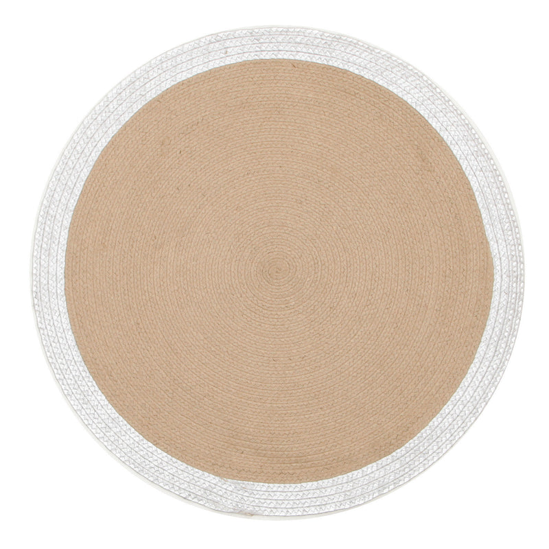 Milano Hand Braided Jute & Silver Leather Round Rug