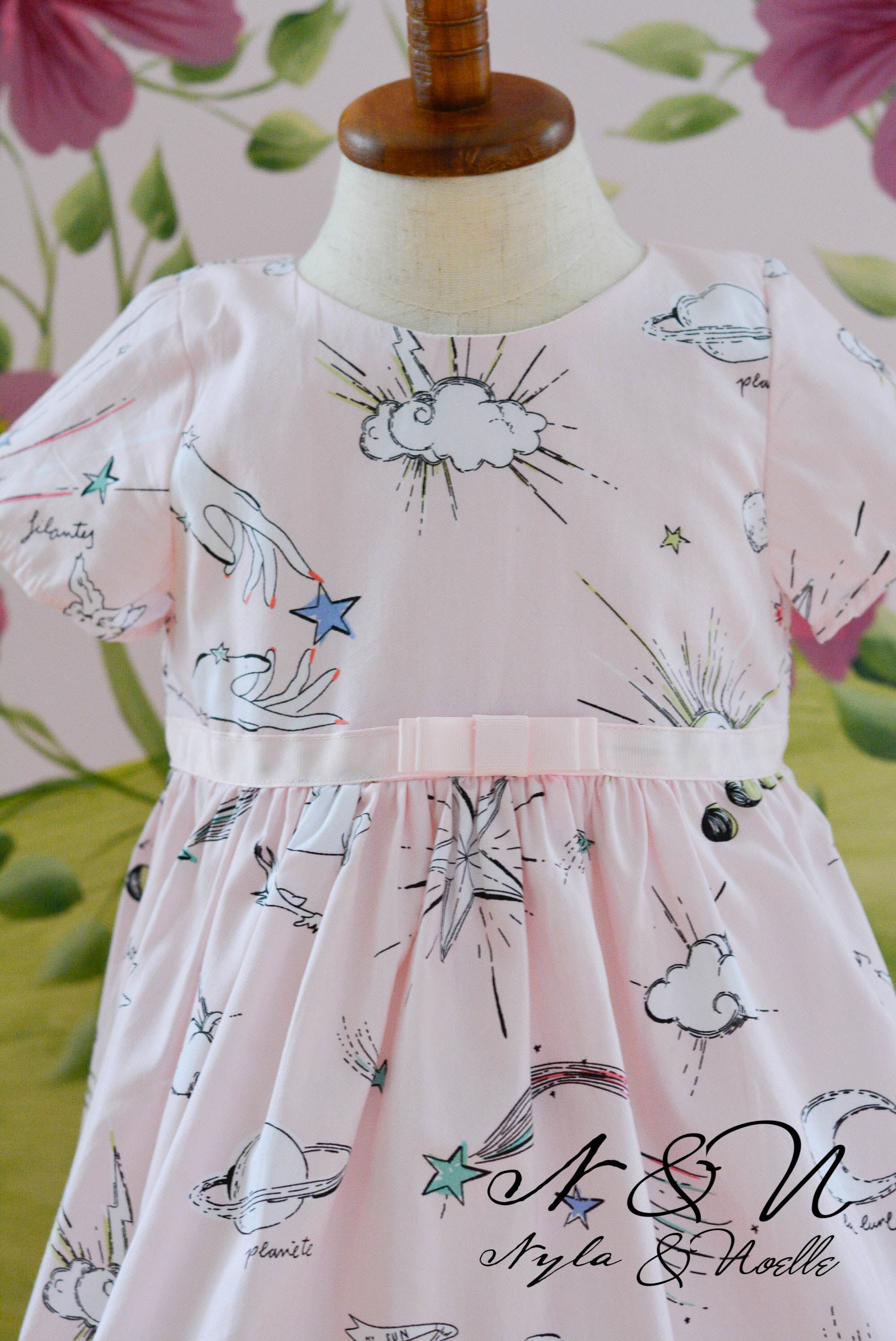 STAR GAZER - Girls Pink Novelty Print Dress
