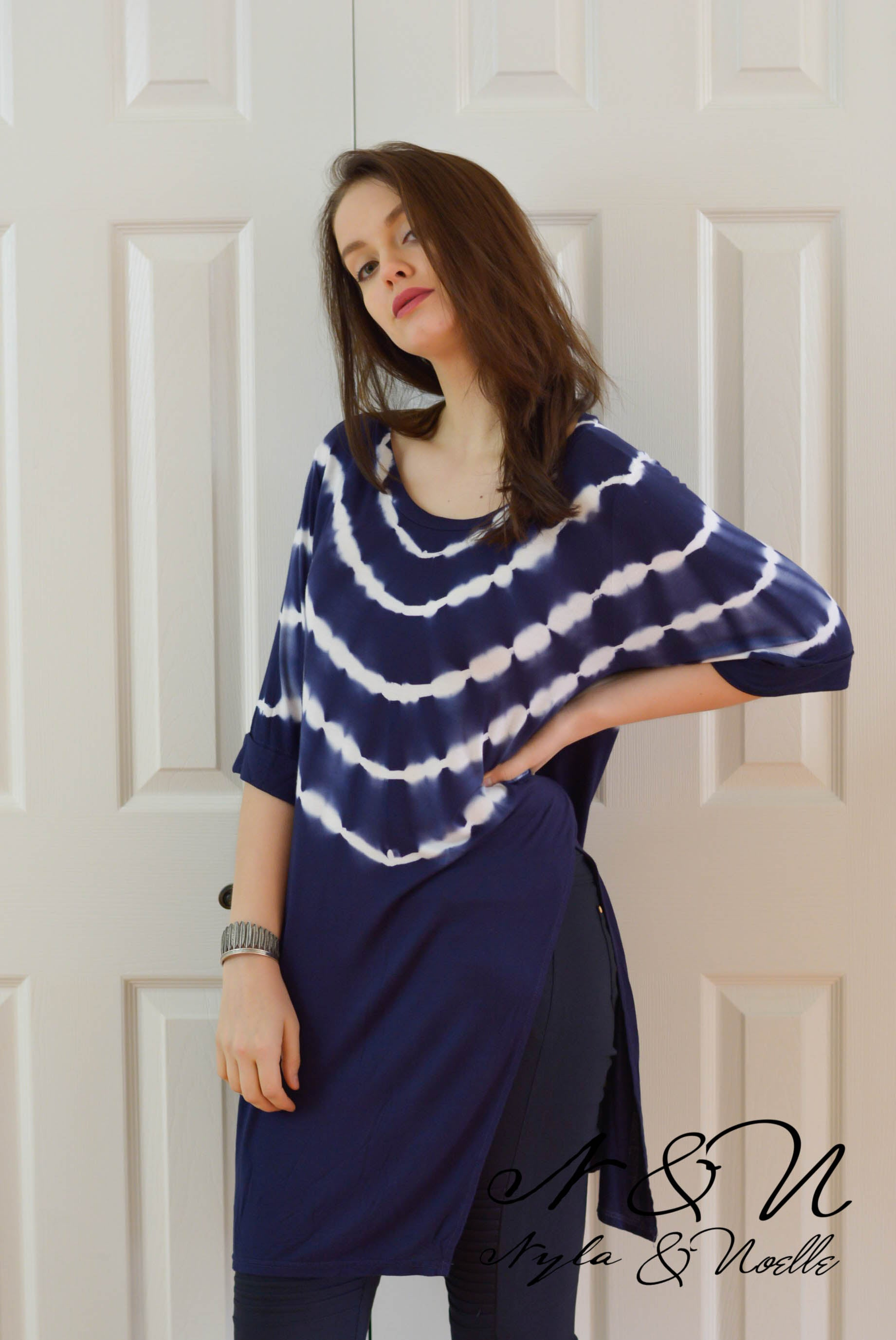 FLINT - Navy Long Length Tie Die Tunic