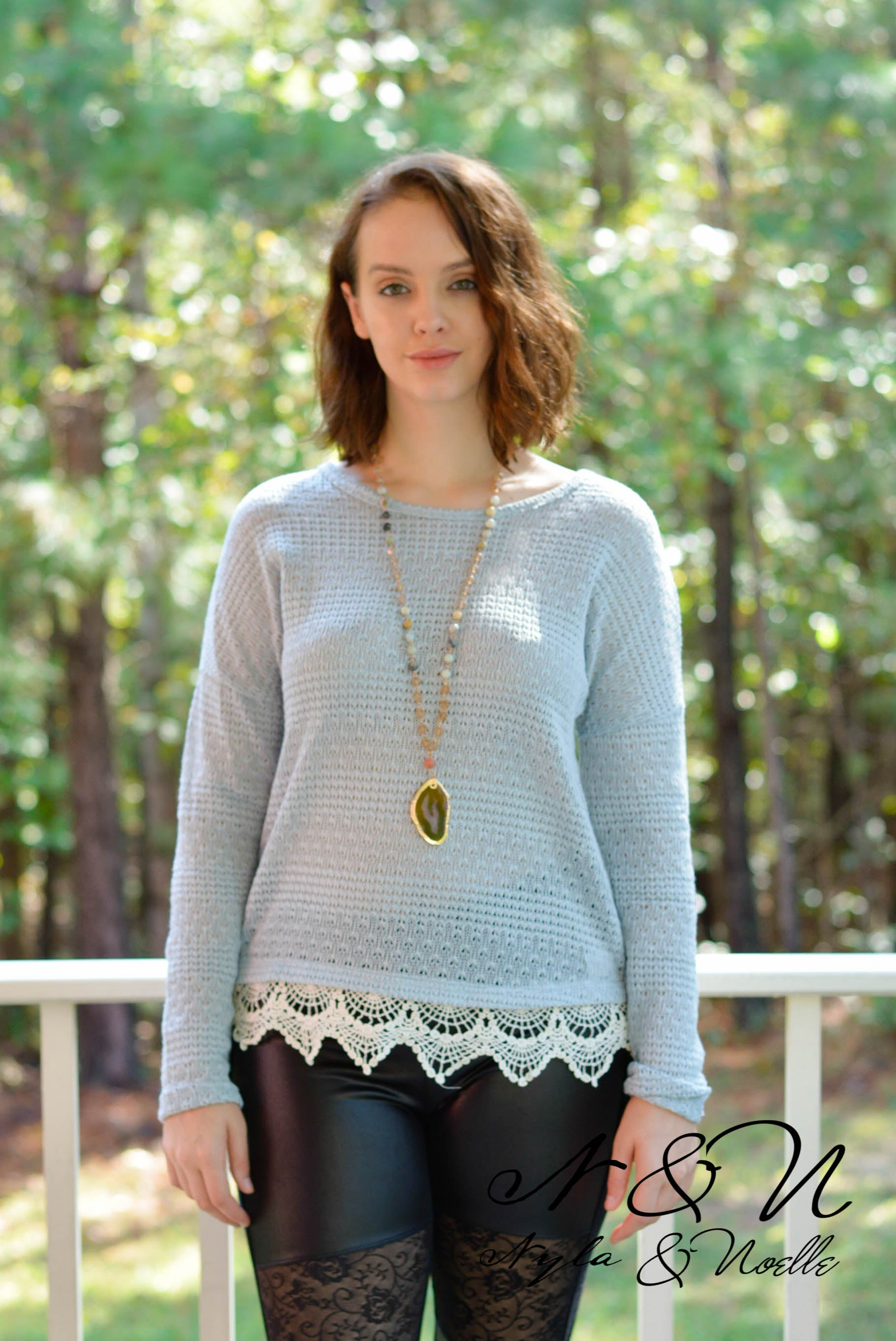VERANDIA - Vintage Style Light Knit Top with Lace Edge